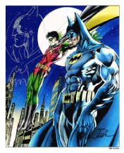Neal Adams Signed Batman Art Print Plus Original Artwork